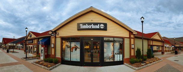 CENTRAL VALLEY, NY - MAY 4, 2018: Timberland Store in Woodbury Common Premium Outlet Mall. Timberland LLC is an American manufacturer of outdoors wear