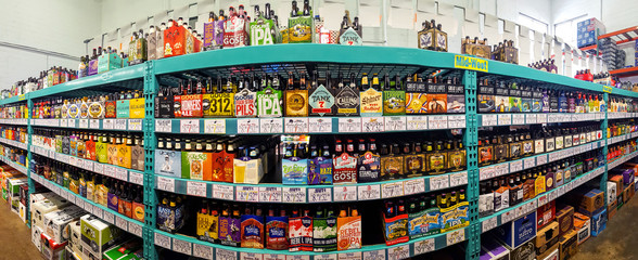 CHATHAM, NJ - MARCH 11, 2017: Craft beer aisle in a Bottle King store. More than 4,600 breweries are responsible for craft beer brands in the U.S. and more than 2,000 craft breweries are in the planni