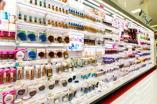 WHARTON, NJ, USA - MARCH 30, 2015: Shelves with cosmetics in a Target store. Target is the second-largest discount retailer in the United States.