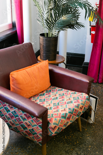 Remarkable Colorful Leather Mid Century Modern Chair With Orange Pillow Ibusinesslaw Wood Chair Design Ideas Ibusinesslaworg