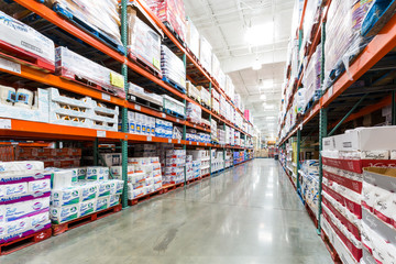 CHRISTIANA, DELAWARE, USA - SEPTEMBER 06, 2104: Ailse in a Costco store with napkins, towels and other paper products. Costco Wholesale Corporation, a membership only warehouse club, is the second lar
