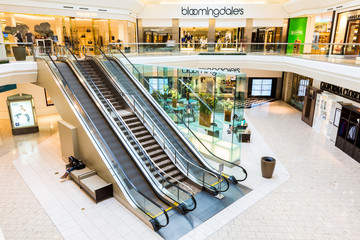 SHORT HILLS, NJ, USA - AUGUST 25, 2014: The Mall at Short Hills.  The Mall at Short Hills is among the most expensive malls in US with 160 specialty stores of international and luxury retailers.