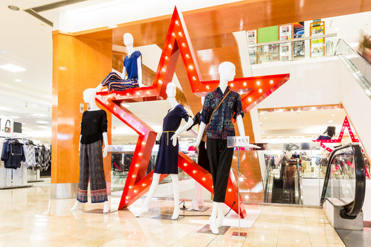 SHORT HILLS, NJ, USA - AUGUST 25, 2014: Macy's store inside The Mall at Short Hills.  is a mid-range to upscale chain of department stores owned by American multinational corporation Macy's