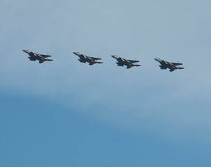 A flight of Florida Air National Guard F-15 Eagles of the 159th Fighter Squadron prepare to land at Wright-Patterson Air Force Base