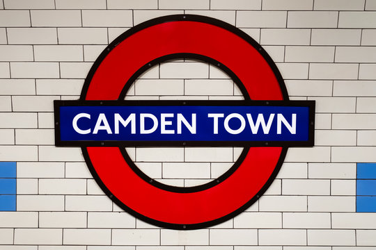 The famous London Underground sign at Camden Town Station