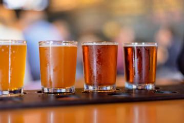 closeup of beer flight