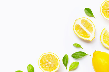 Fresh lemon with slices isolated on white.