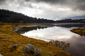 Lagoon in the Andean moorland of Merida, Venezuela, the water reflects the mountain pines and the gray cloud sky.