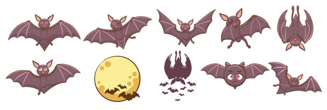 bat vector set graphic clipart design