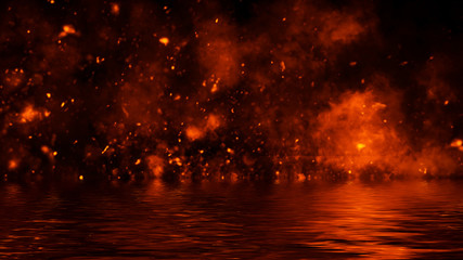 Texture of fire with reflection in water. Flames on isolated black background. Design element.