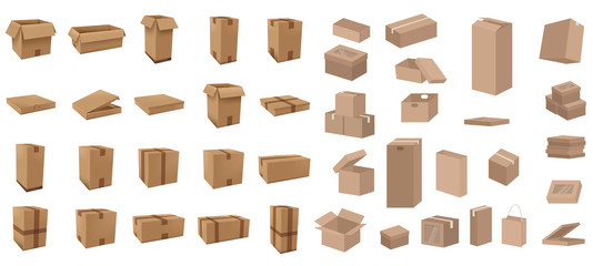 Many Cardboard boxes set vector