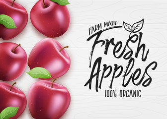 Red Fresh Apples Farm Made Organic 3D Realistic Banner Top View on White Wood Background. Vector Illustration