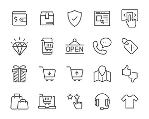 set of shopping icons, shopping online, e-commerce, buy, store, cart, pay