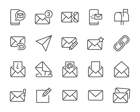 set of e-mail icons, mail, send, share, contact, news
