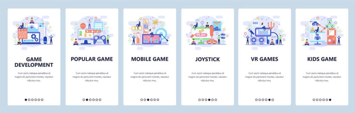 Mobile app onboarding screens. Game development, VR technology, mobile games, joystick. Menu vector banner template for website and mobile development. Web site design flat illustration
