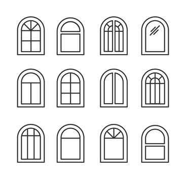 Arched & arch window. Casement & awning window frames. Line icon set. Vector illustration. Isolated objects