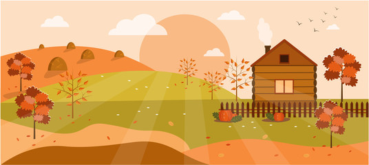 Panoramic of autumn landscape in sunny day