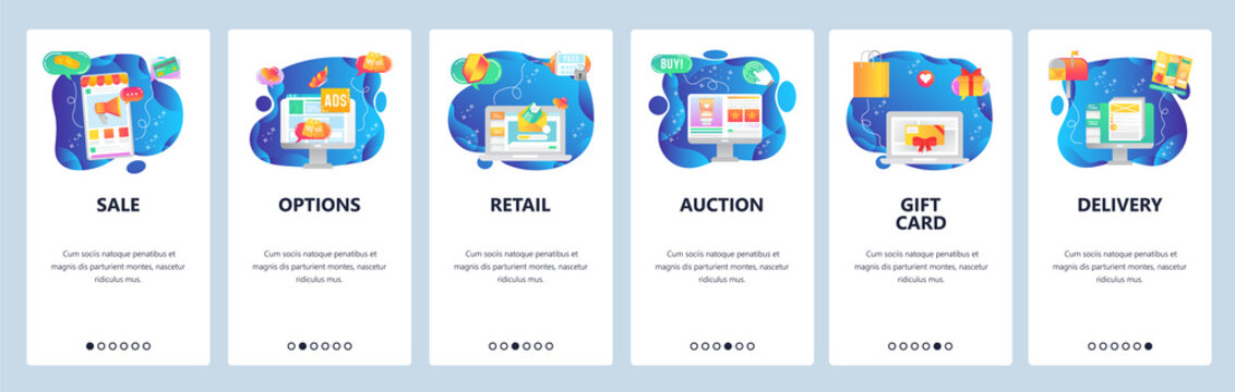 Mobile app onboarding screens. Sale promotion, retail price, auction, online shopping, order delivery. Menu vector banner template for website and mobile development. Web site design flat illustration