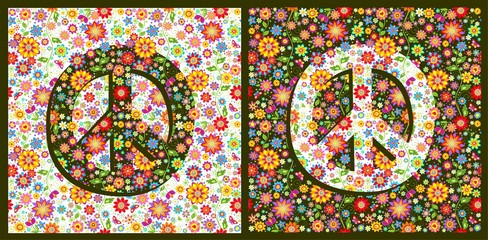 Flowers hippie colorful fashion wallpapers with peace symbol variation