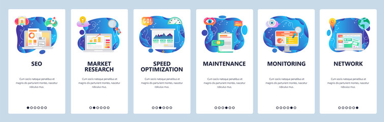 Mobile app onboarding screens. SEO, speed optimization and digital marketing. market research. Menu vector banner template for website and mobile development. Web site design flat illustration Wall mural