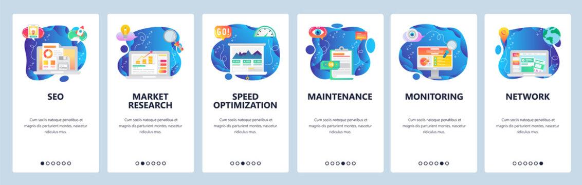 Mobile app onboarding screens. SEO, speed optimization and digital marketing. market research. Menu vector banner template for website and mobile development. Web site design flat illustration