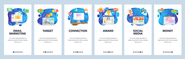 Mobile app onboarding screens. Email marketing, social media, business leader. Menu vector banner template for website and mobile development. Web site design flat illustration