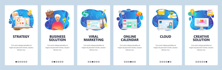 Mobile app onboarding screens. Cloud storage, viral marketing, business strategy, financial charts. Menu vector banner template for website and mobile development. Web site design flat illustration