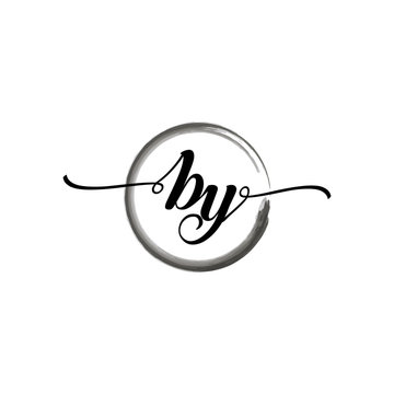 BY initial handwriting logo template round logo in watercolor color with handwritten letters in the middle. Handwritten logos are used for, weddings, fashion, jewelry, boutiques, flowers, and business
