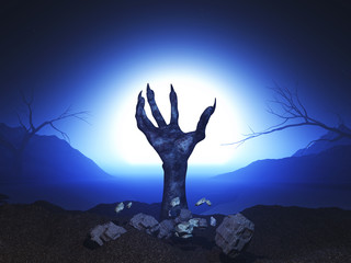 Fototapete - 3D Halloween background with zombie hand erupting out of the ground
