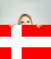 Travel and learn danish language concept. Smiling woman student