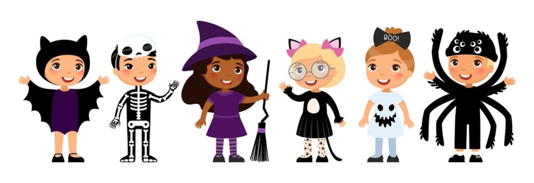 Boys and girls in scary monsters costumes flat vector characters set. Bat, skeleton, witch, cat, ghost and spider outfits cartoon illustrations.  Trick or treat tradition.