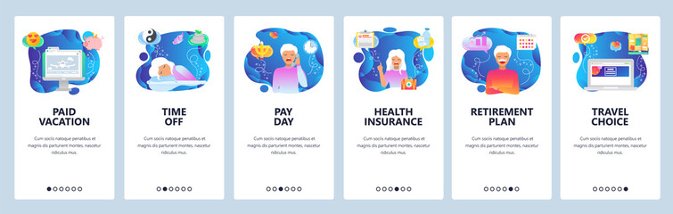 Mobile app onboarding screens. Health insurance, retirement plan, time to sleep, flight vacation. Menu vector banner template for website and mobile development. Web site design flat illustration