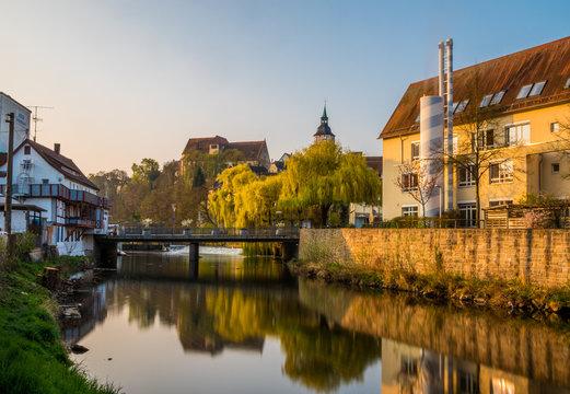 Backnang Biegel und Stadtturm Dauerbelichtung
