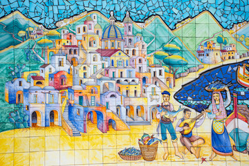 Italy, detail of mosaic on a stretch of wall of the Amalfi coast