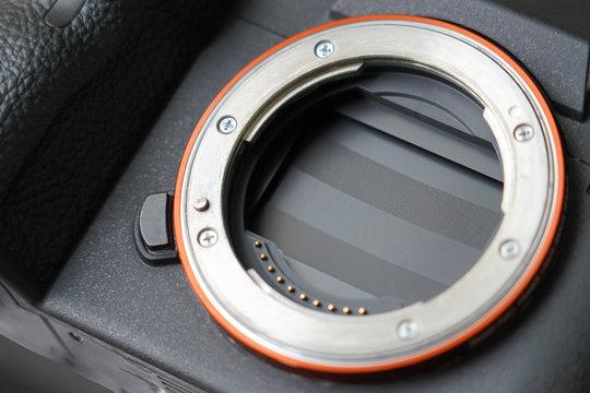 Mirrorless full frame camera sensor curtain.