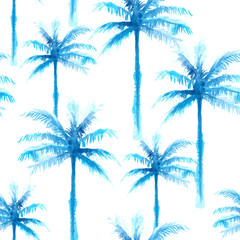 seamless pattern of hand paint watercolor blue coconut tree, natural summer illustration for fashion textile
