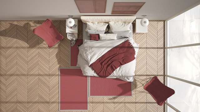 Modern red colored minimalist bedroom, bed with pillows and blankets, herringbone parquet floor, bedside tables, armchair and carpet. Architecture, interior design concept, top view