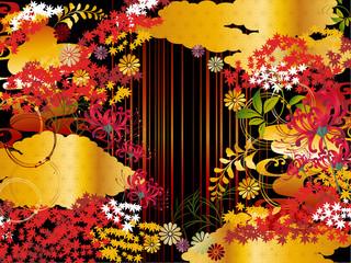 秋紅葉金雲和柄背景素材