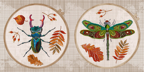 Embroidery collection. Insects. Dragonfly and beetle deer. Autumn forest concept. Template tambour frame with a canvas, elements from stitches. Art for clothes