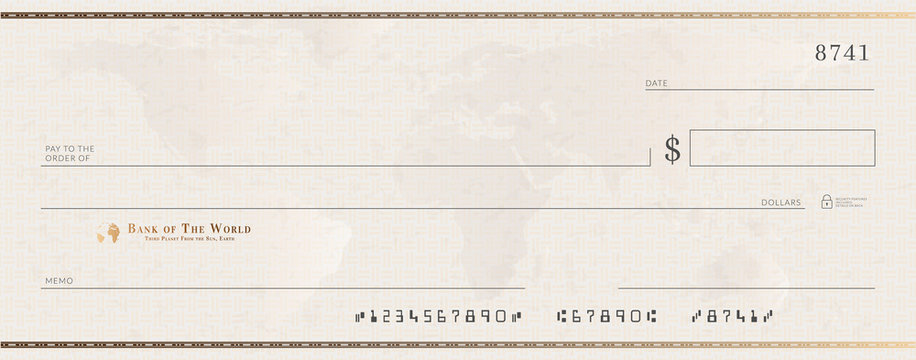 Blank bank golden cheque template. Check from checkbook