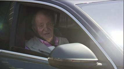 Former Spain's King Juan Carlos leaves Quiron Hospital one week after a heart surgery in Madrid