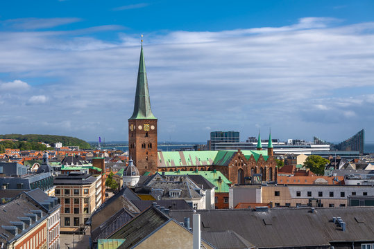 Aarhus, Denmark. Aerial view of the city with the Aarhus Cathedral (Danish: Domkirke).