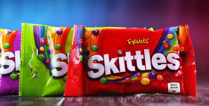 Packages of Skittles candies