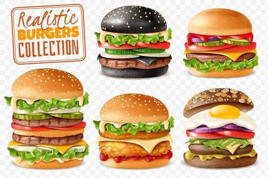 Realistic burgers collection transparent background set