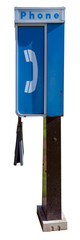 Vintage blue and white payphone booth. Isolated.