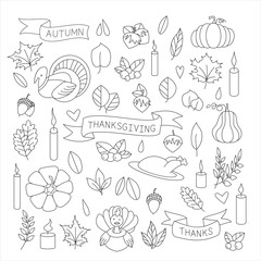 Coloring Pages. Coloring book. Thanksgiving. Colouring pictures. Vector illustration.