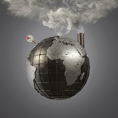 planet earth releases steam from overheating