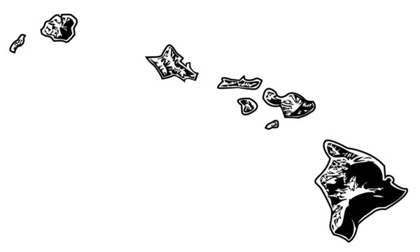Hawaii - Hawaiian Islands, Stylized Black and White