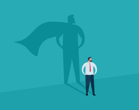 Businessman and shadow superhero. Ambition and success vector concept. Vector illustration.