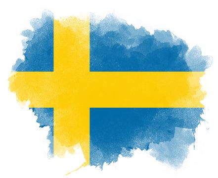 Schweden Wasserfarben Flagge